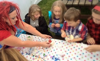 Guests get busy decorating their own treasure chests